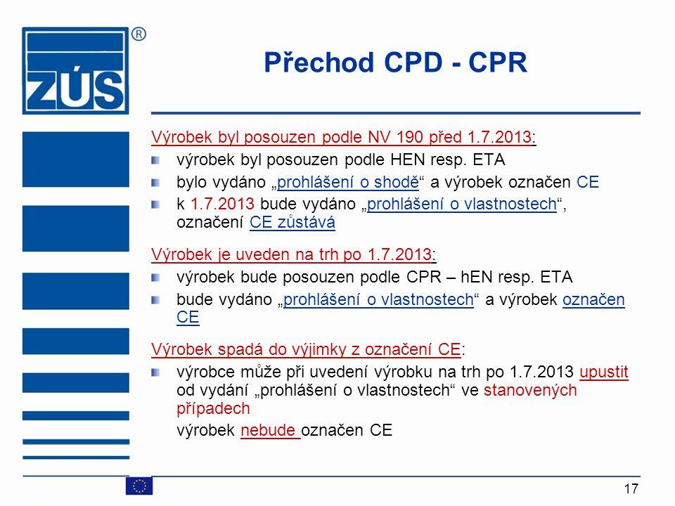 Přechod CPD - CPR Výrobek byl posouzen podle NV 190 před 1.7.2013: