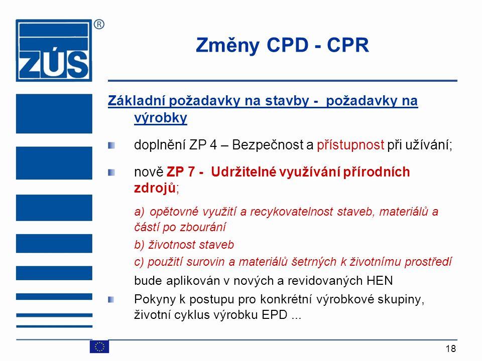 Změny CPD - CPR Základní požadavky na stavby - požadavky na výrobky. doplnění ZP 4 – Bezpečnost a přístupnost při užívání;