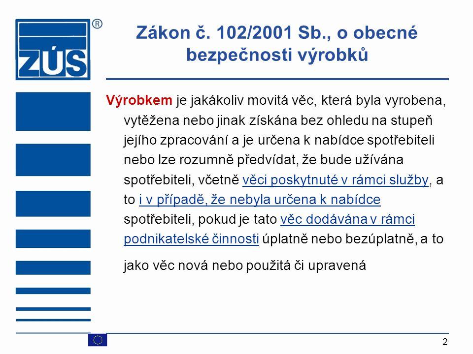 Zákon č. 102/2001 Sb., o obecné bezpečnosti výrobků