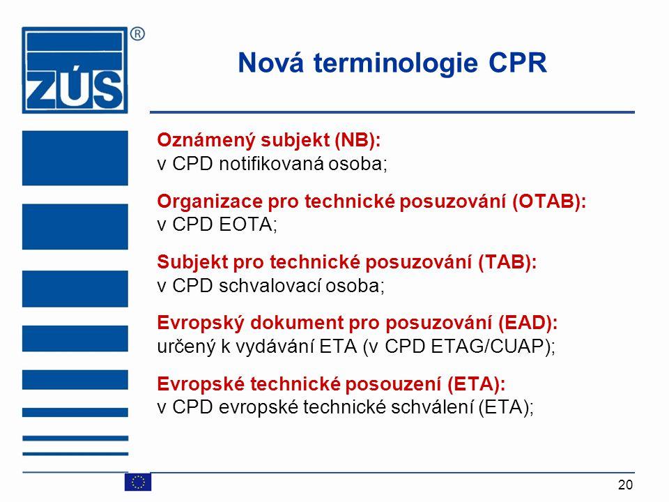 Nová terminologie CPR Oznámený subjekt (NB): v CPD notifikovaná osoba;