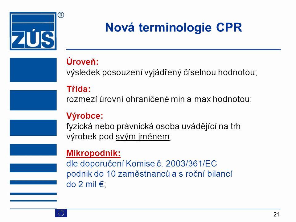 Nová terminologie CPR Úroveň: