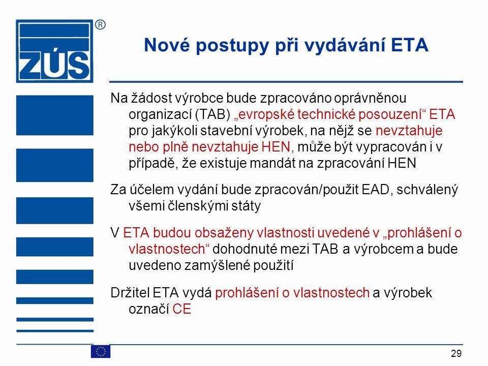 Nové postupy při vydávání ETA