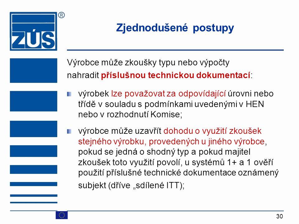 Zjednodušené postupy Výrobce může zkoušky typu nebo výpočty
