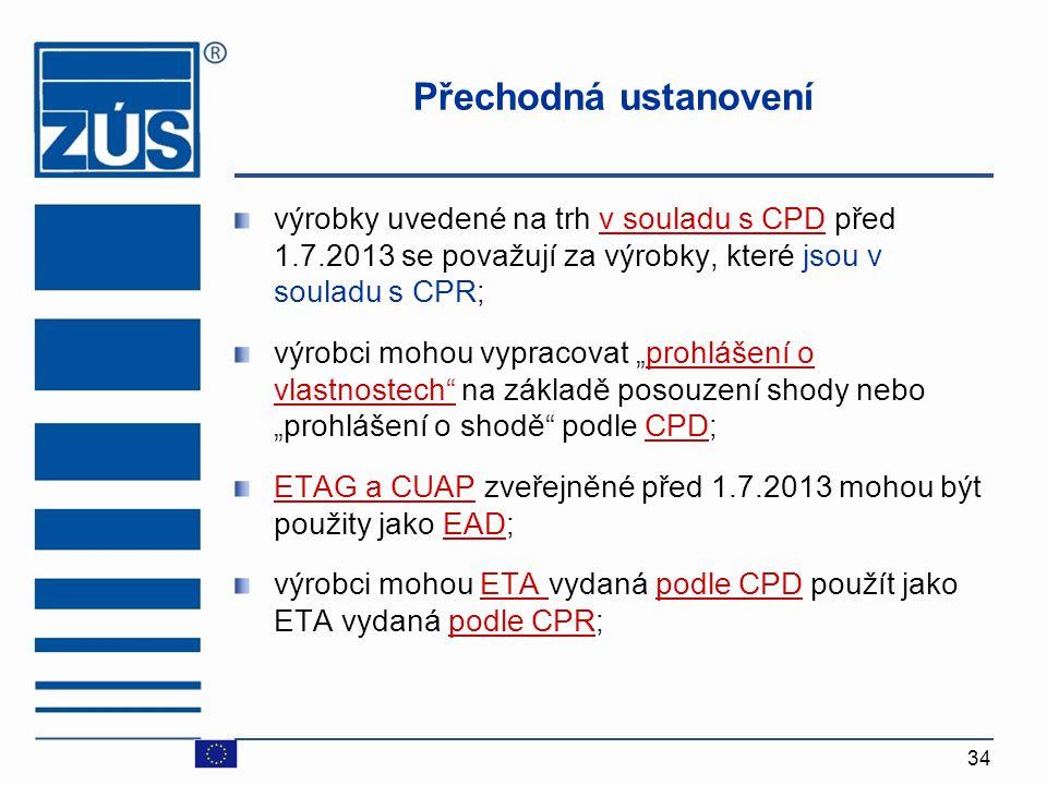 Přechodná ustanovení výrobky uvedené na trh v souladu s CPD před 1.7.2013 se považují za výrobky, které jsou v souladu s CPR;