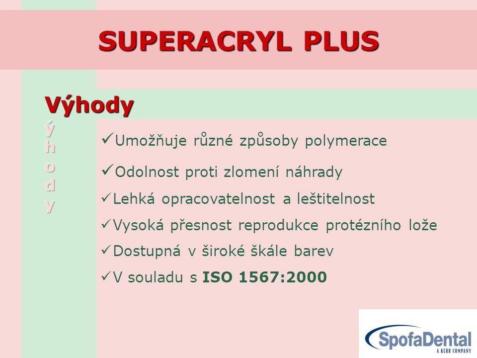 SUPERACRYL PLUS Výhody Umožňuje různé způsoby polymerace