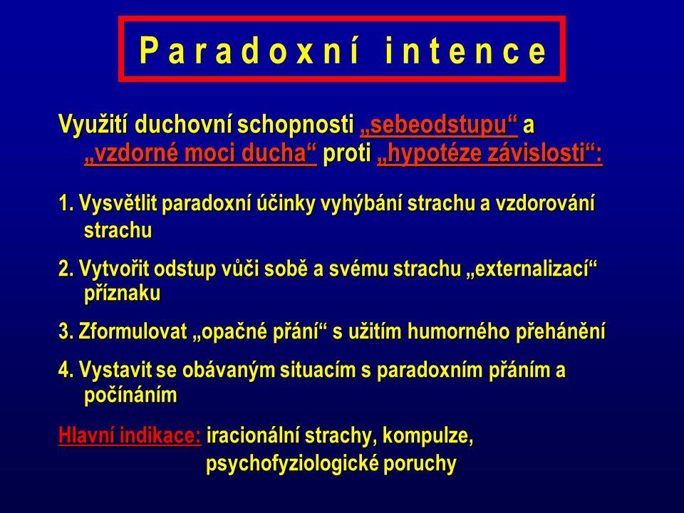 """P a r a d o x n í i n t e n c e Využití duchovní schopnosti """"sebeodstupu a """"vzdorné moci ducha proti """"hypotéze závislosti :"""