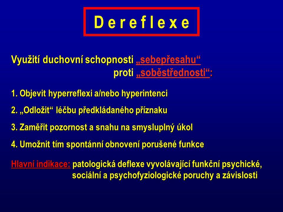 """D e r e f l e x e Využití duchovní schopnosti """"sebepřesahu proti """"soběstřednosti : 1. Objevit hyperreflexi a/nebo hyperintenci."""