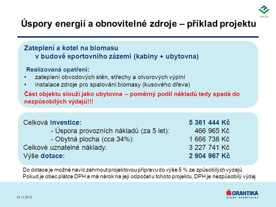 Úspory energií a obnovitelné zdroje – příklad projektu