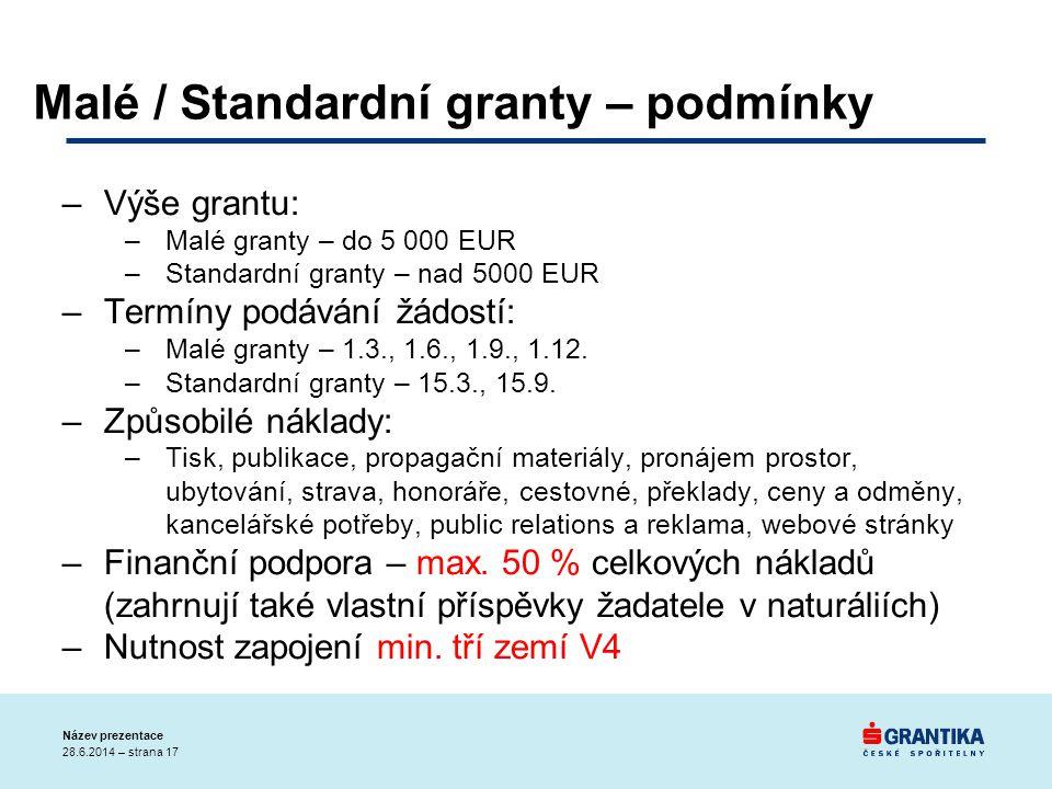Malé / Standardní granty – podmínky