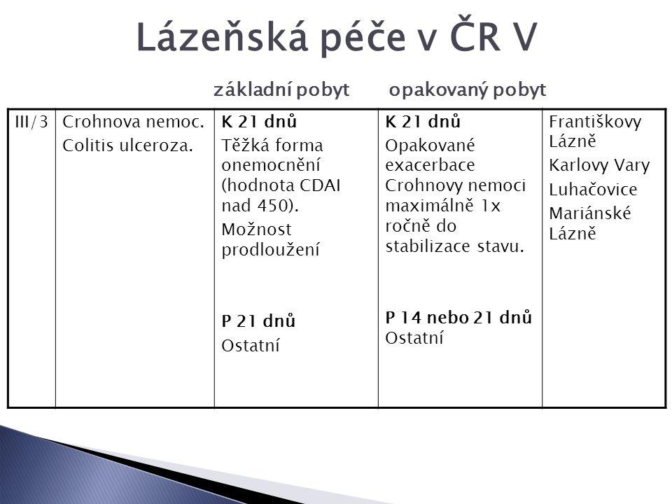 Lázeňská péče v ČR V základní pobyt opakovaný pobyt