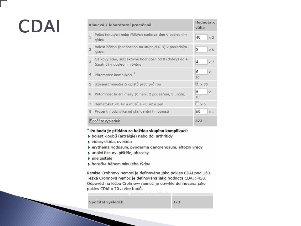 CDAI Klinická / laboratorní proměnná Hodnota x váha 1