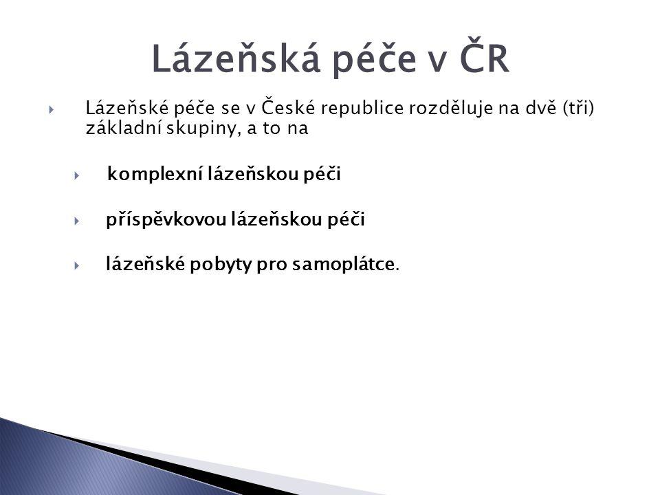 Lázeňská péče v ČR Lázeňské péče se v České republice rozděluje na dvě (tři) základní skupiny, a to na.
