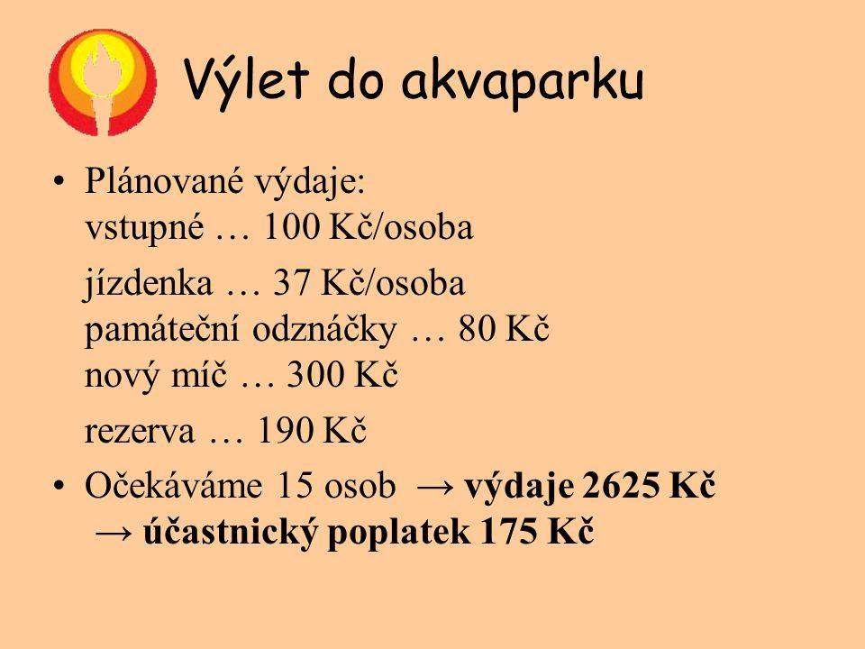 Výlet do akvaparku Plánované výdaje: vstupné … 100 Kč/osoba