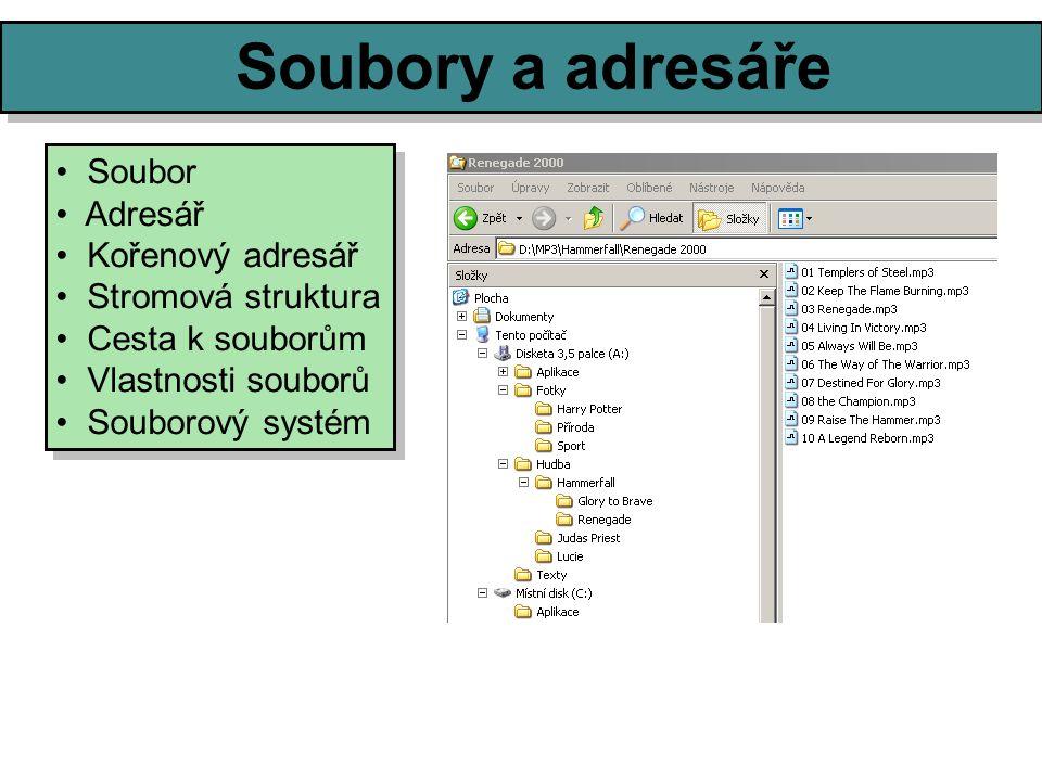 Soubory a adresáře Soubor Adresář Kořenový adresář Stromová struktura