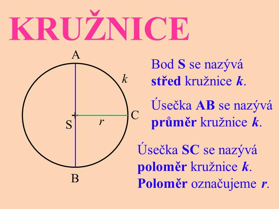 KRUŽNICE Bod S se nazývá střed kružnice k.