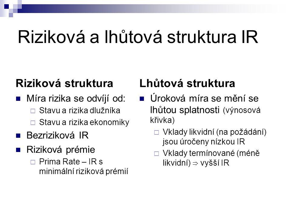 Riziková a lhůtová struktura IR