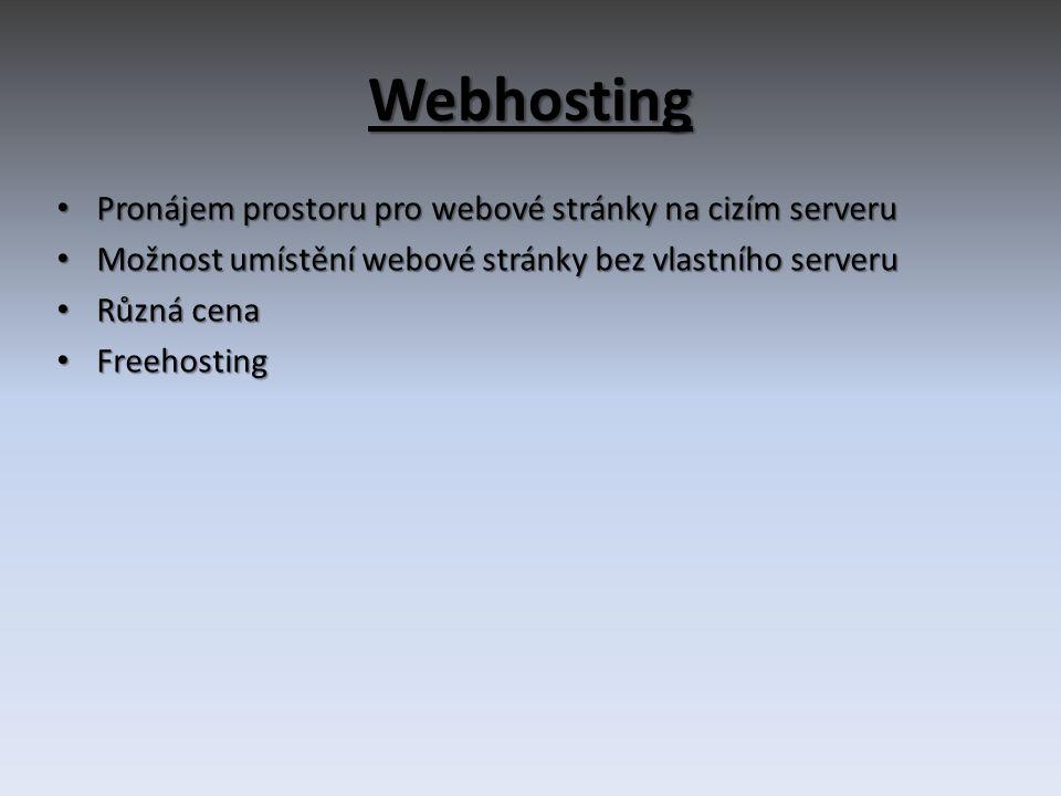 Webhosting Pronájem prostoru pro webové stránky na cizím serveru