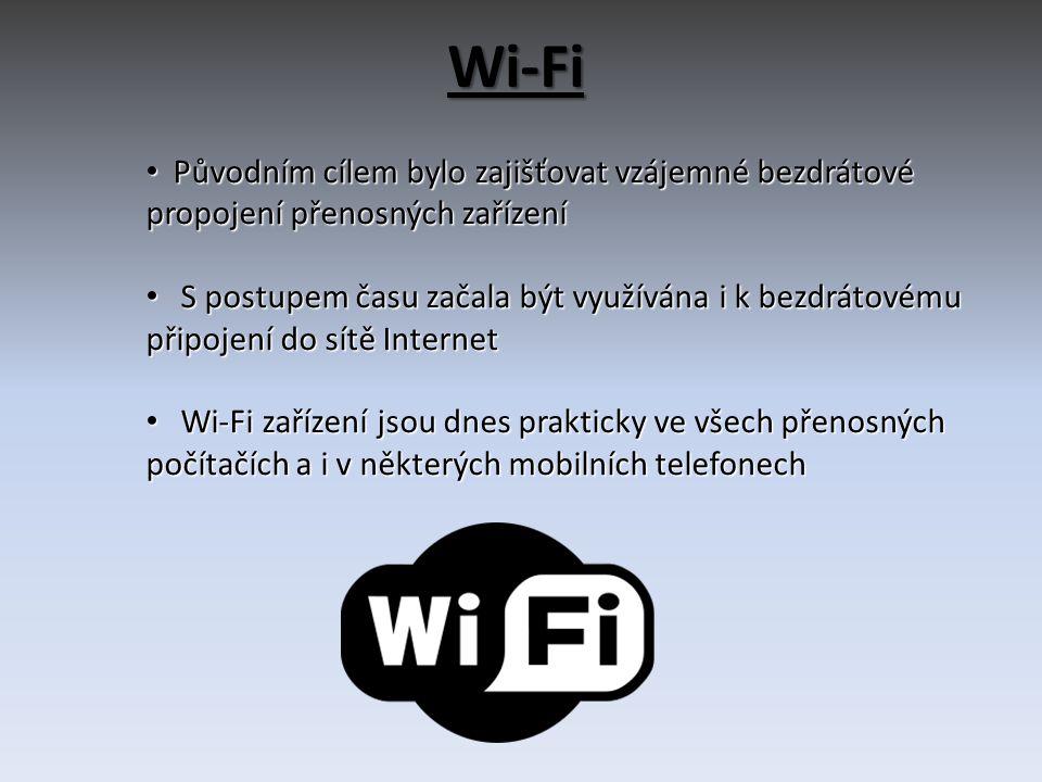 Wi-Fi Původním cílem bylo zajišťovat vzájemné bezdrátové propojení přenosných zařízení.