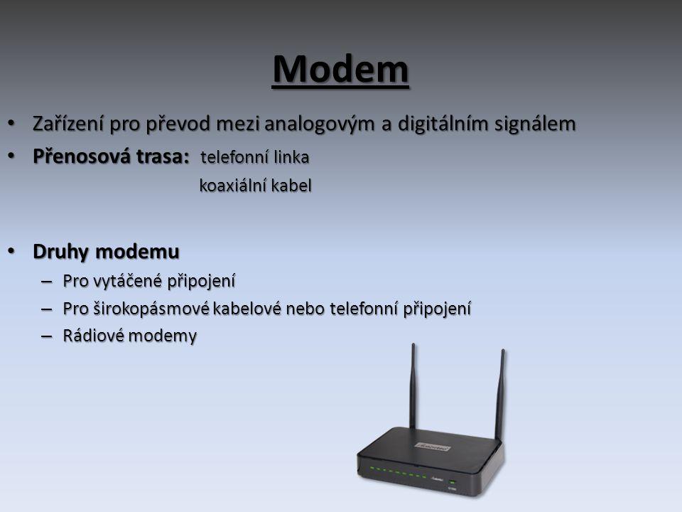 Modem Zařízení pro převod mezi analogovým a digitálním signálem