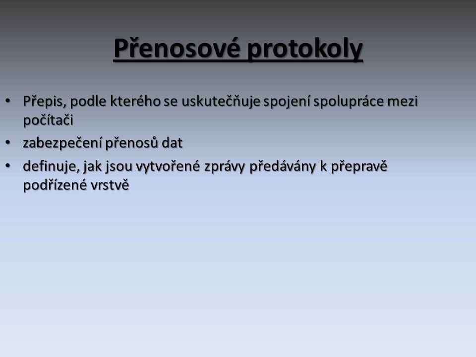Přenosové protokoly Přepis, podle kterého se uskutečňuje spojení spolupráce mezi počítači. zabezpečení přenosů dat.