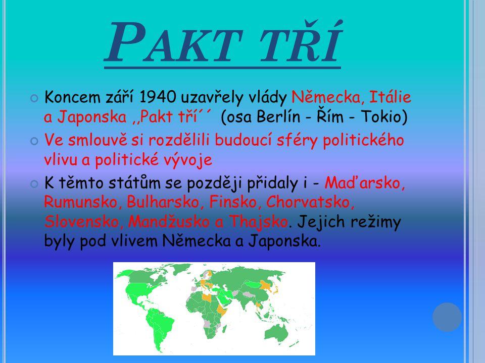 Pakt tří Koncem září 1940 uzavřely vlády Německa, Itálie a Japonska ,,Pakt tří´´ (osa Berlín - Řím - Tokio)