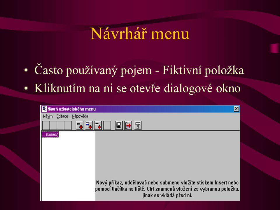 Návrhář menu Často používaný pojem - Fiktivní položka