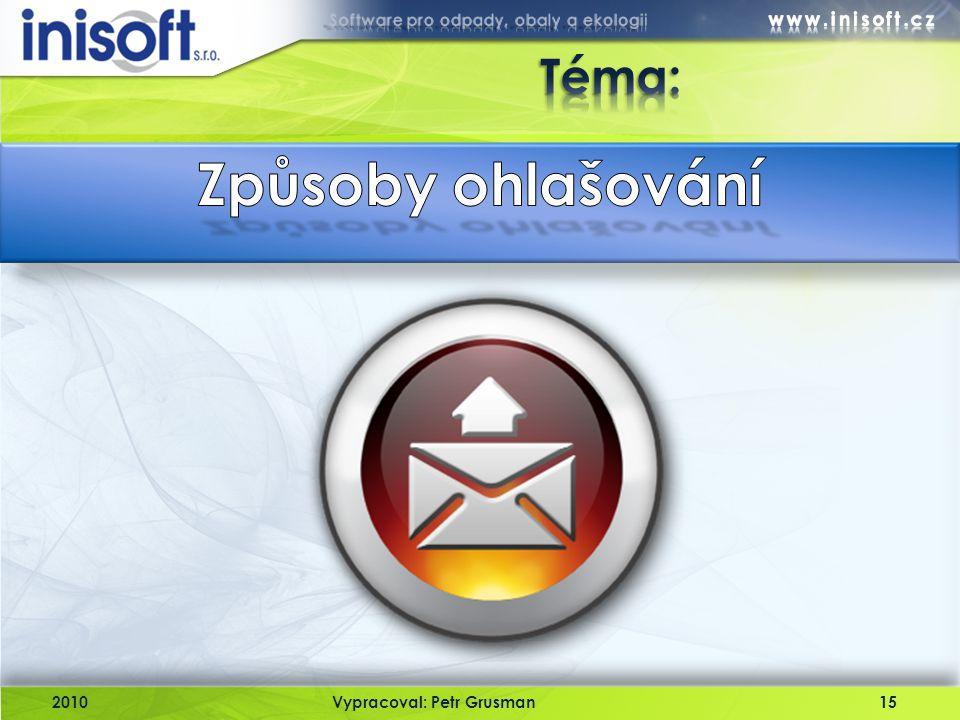 Téma: Způsoby ohlašování 2010 Vypracoval: Petr Grusman