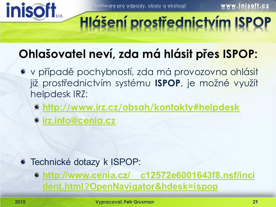 Hlášení prostřednictvím ISPOP