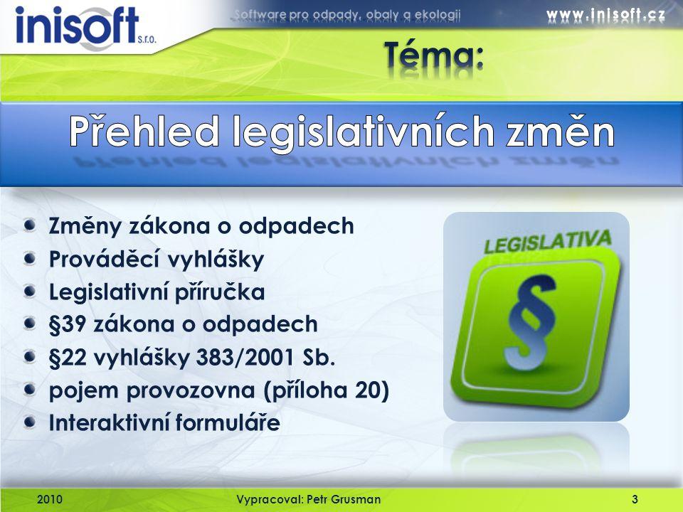 Přehled legislativních změn