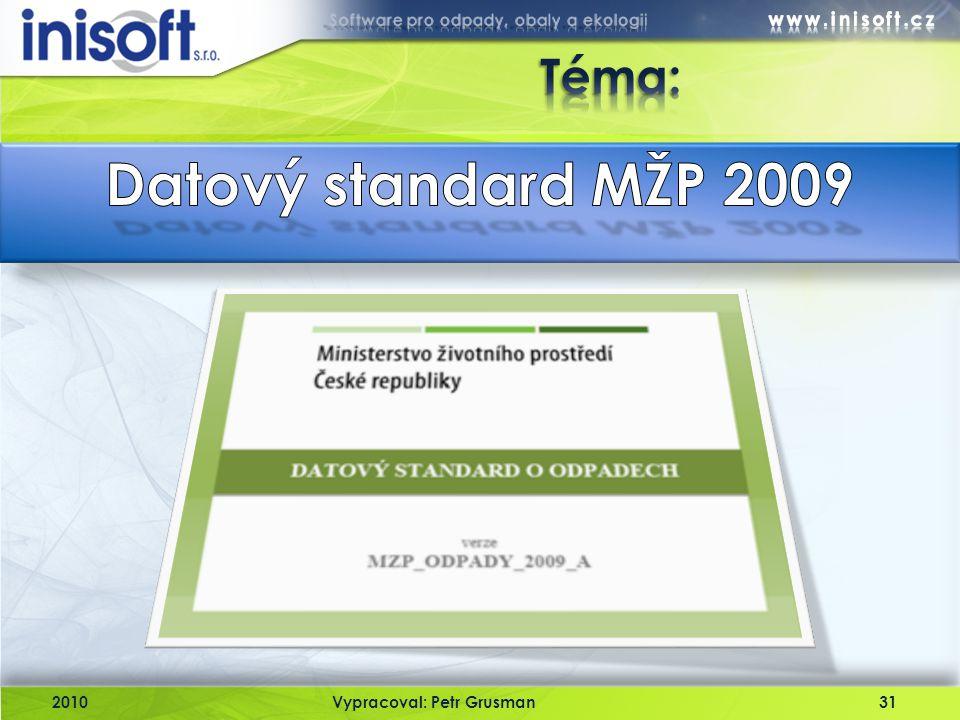 Téma: Datový standard MŽP 2009 2010 Vypracoval: Petr Grusman