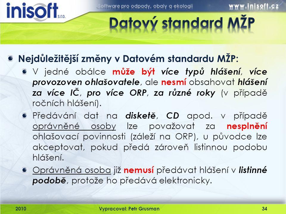 Datový standard MŽP Nejdůležitější změny v Datovém standardu MŽP: