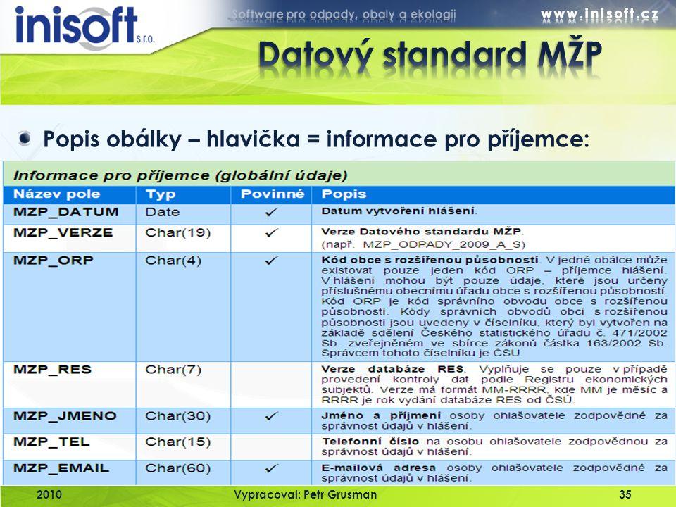 Datový standard MŽP Popis obálky – hlavička = informace pro příjemce: