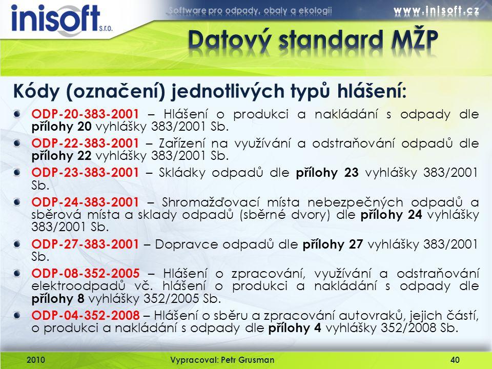 Datový standard MŽP Kódy (označení) jednotlivých typů hlášení: