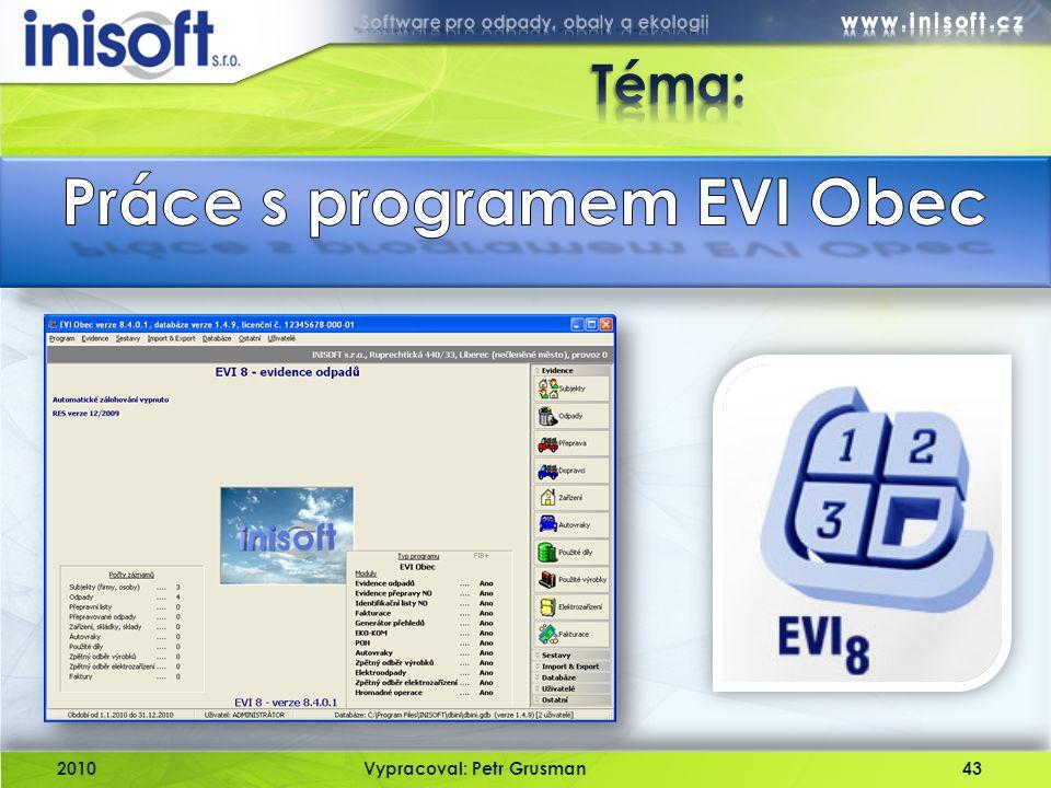 Práce s programem EVI Obec