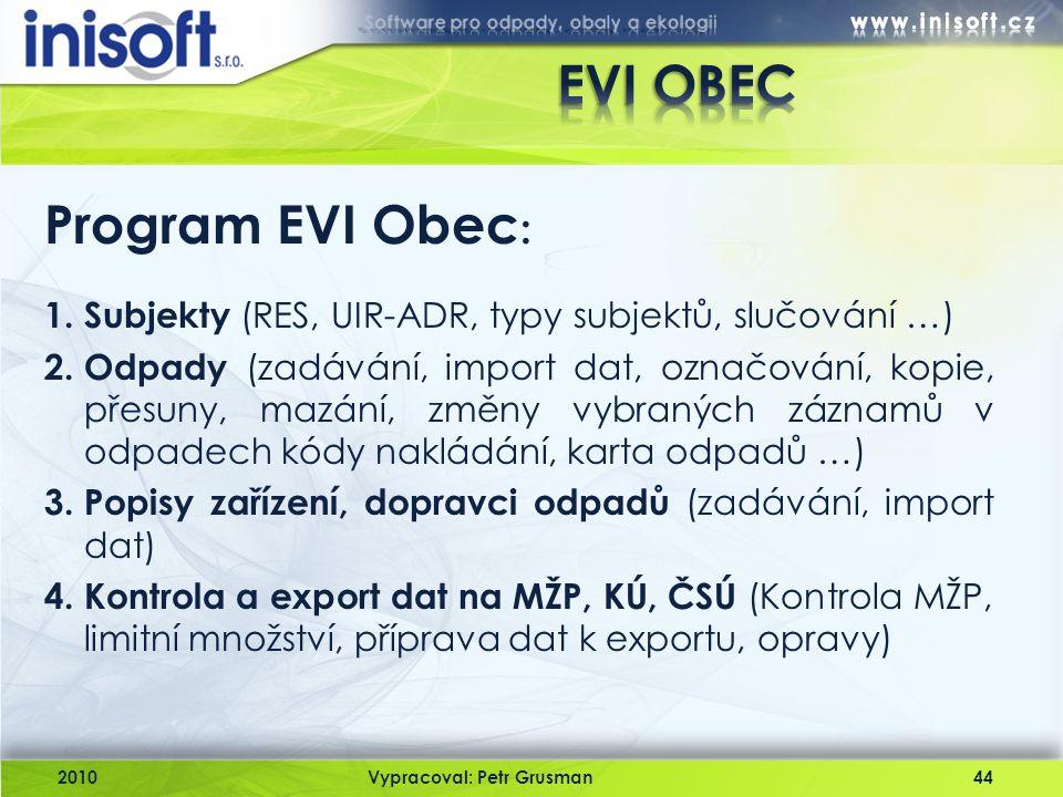 EVI OBEC Program EVI Obec: