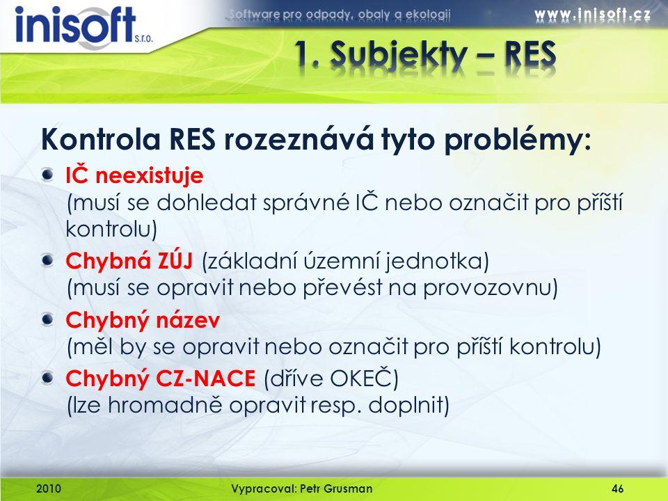 1. Subjekty – RES Kontrola RES rozeznává tyto problémy: