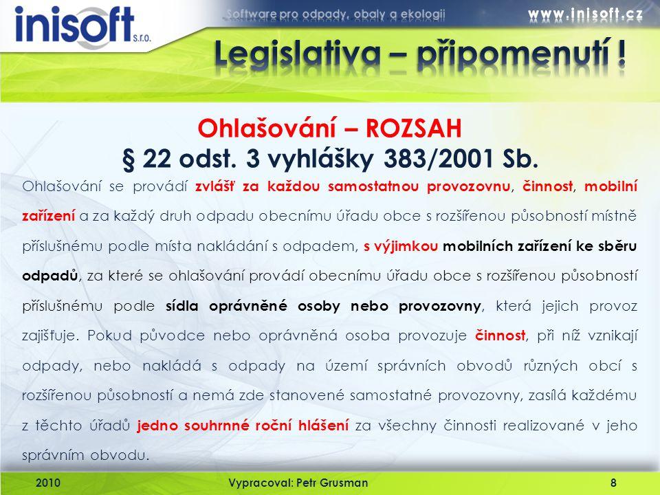 Legislativa – připomenutí !