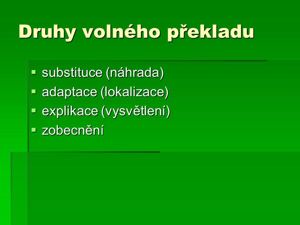 Druhy volného překladu