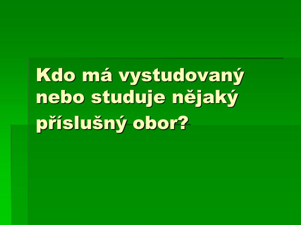 Kdo má vystudovaný nebo studuje nějaký příslušný obor