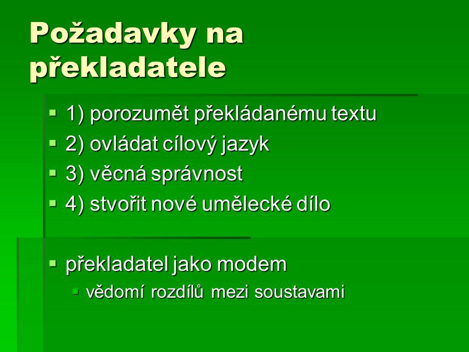 Požadavky na překladatele