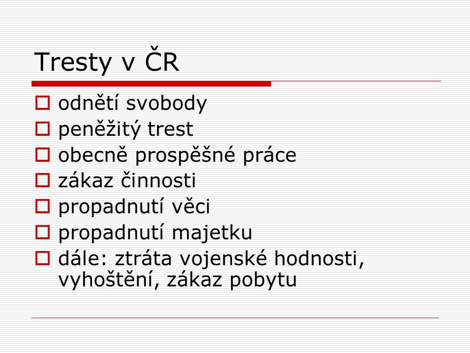 Tresty v ČR odnětí svobody peněžitý trest obecně prospěšné práce