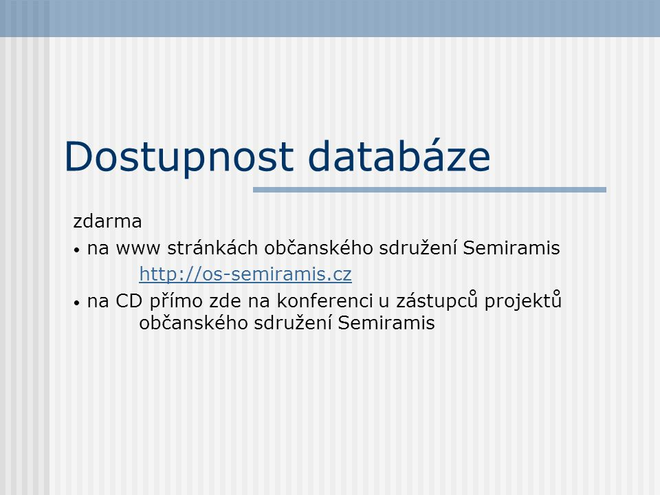 Dostupnost databáze zdarma