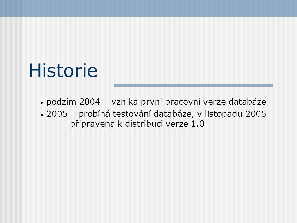Historie podzim 2004 – vzniká první pracovní verze databáze