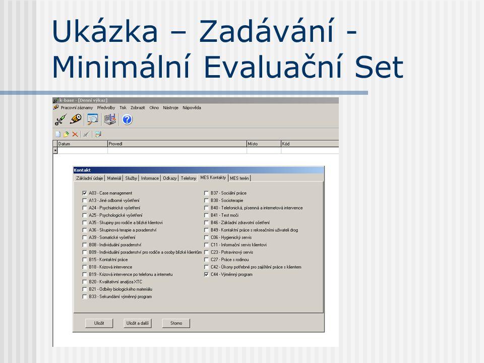 Ukázka – Zadávání - Minimální Evaluační Set