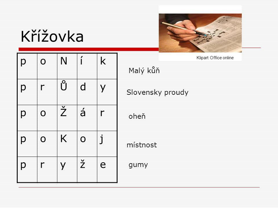 Křížovka p o N í k r Ů d y Ž á K j ž e Malý kůň Slovensky proudy oheň
