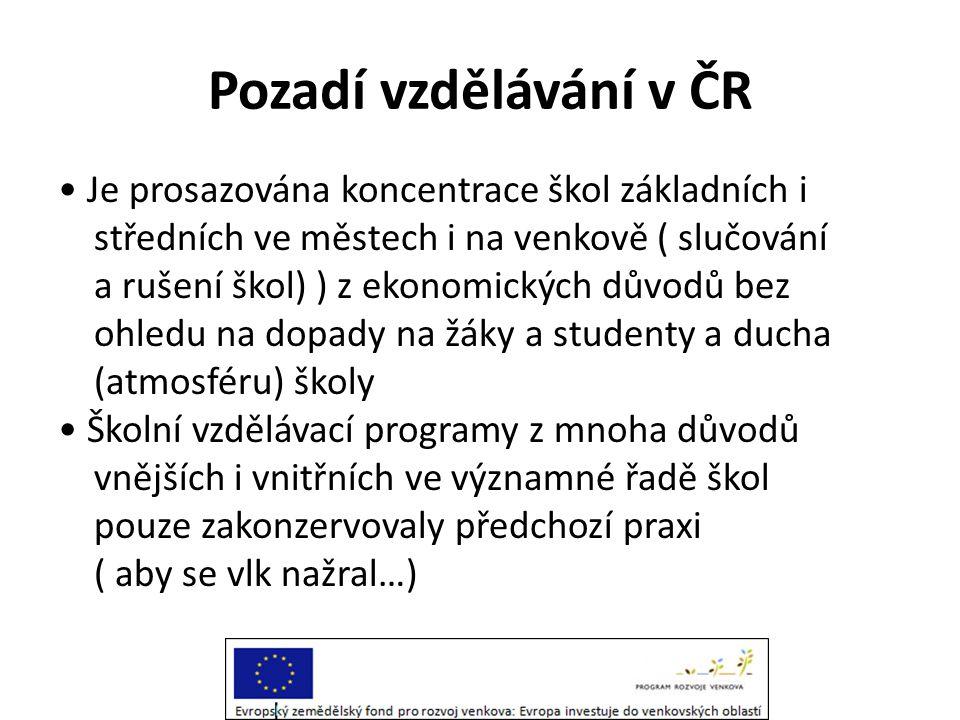 Pozadí vzdělávání v ČR