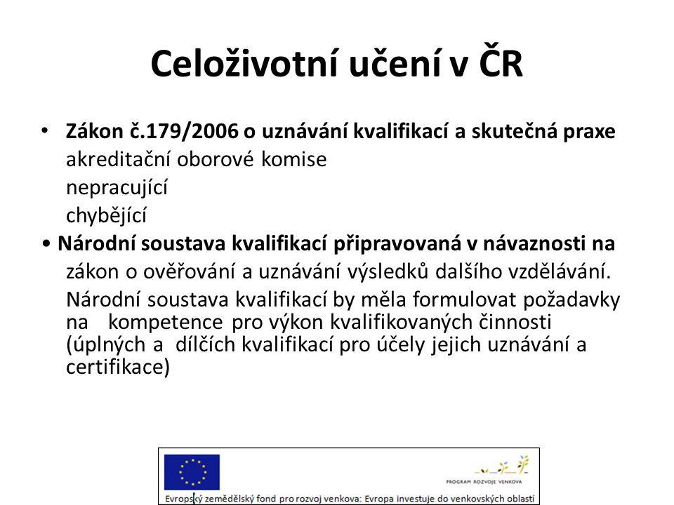 Celoživotní učení v ČR Zákon č.179/2006 o uznávání kvalifikací a skutečná praxe. akreditační oborové komise.