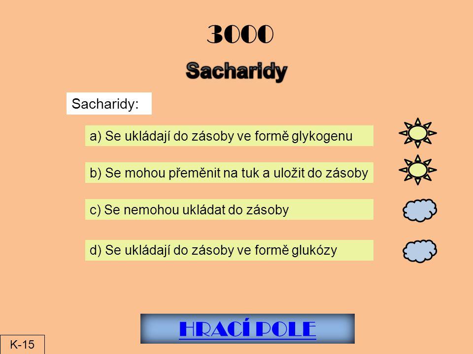 3000 Sacharidy HRACÍ POLE Sacharidy:
