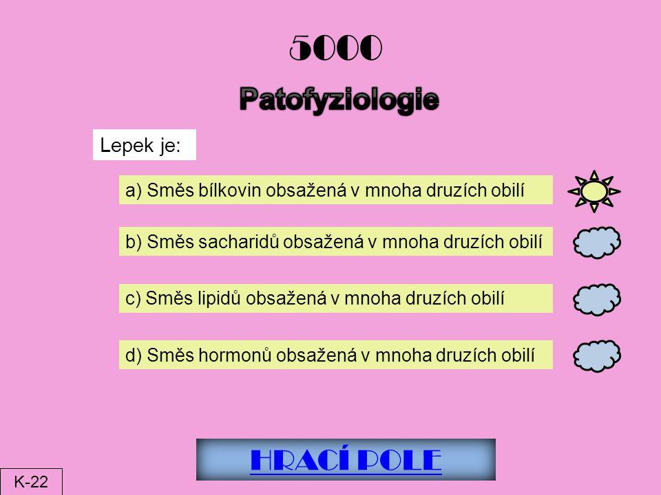 5000 Patofyziologie HRACÍ POLE Lepek je: