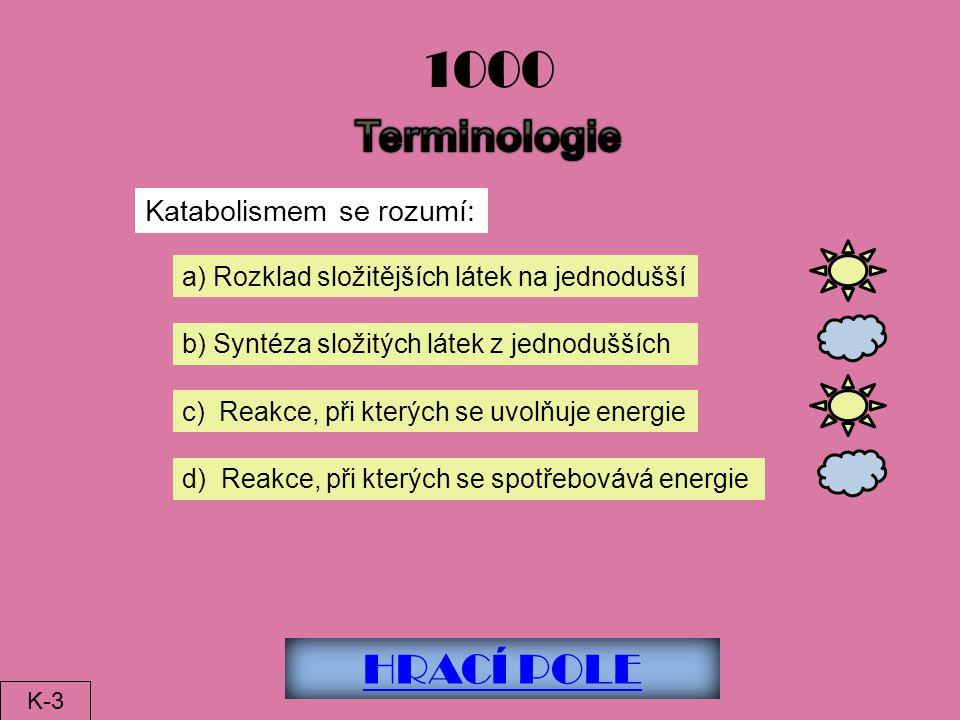 1000 Terminologie HRACÍ POLE Katabolismem se rozumí: